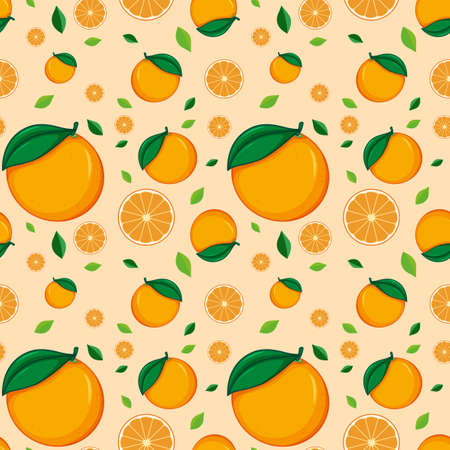 Seamless background design with oranges illustration