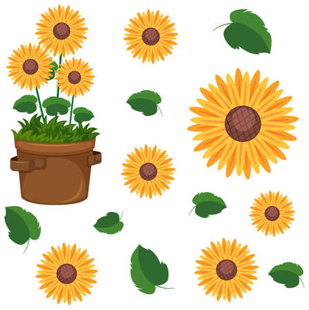 Set of cute sunflowers in flowerpot and leaf illustration