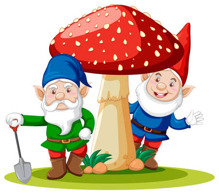 Gnomes standing with mushroom cartoon character on white background illustration