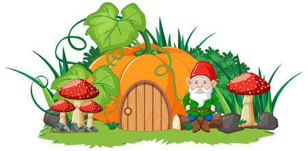 Pumpkin house and gnome cartoon style on white background illustration