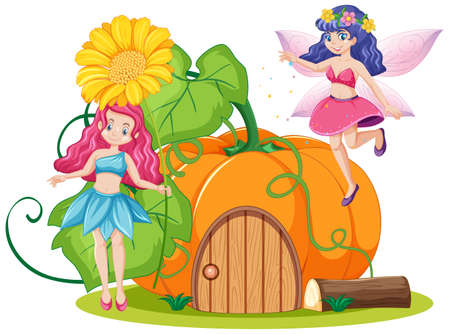 Fairy tales and pumpkin house cartoon style on white background illustration
