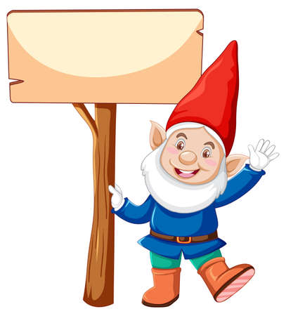 Gnome holding blank banner  in cartoon character on white background illustration