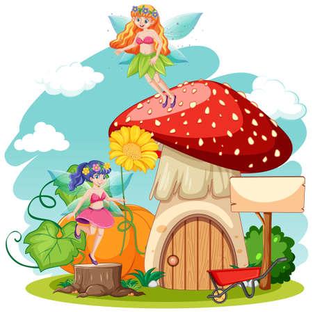 Fairy tales and mushroom house cartoon style on white background illustration Ilustração