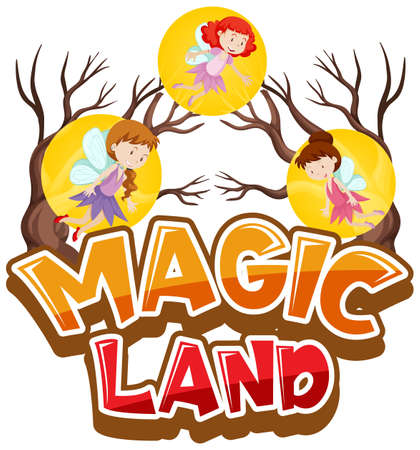 Font design for word magic land with many fairies flying illustration