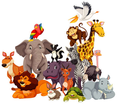 Group of wild animals cartoon character illustration Vettoriali