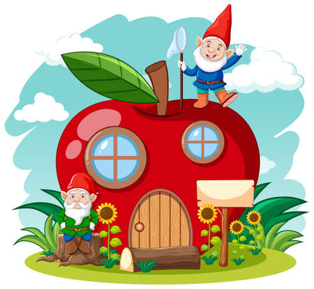 Gnomes and red apple house cartoon style on sky background illustration