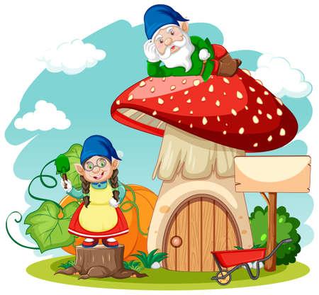 Gnomes and mushroom house cartoon style on white background illustration Векторная Иллюстрация