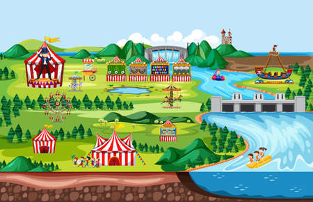 Amusement park with circus carnivals theme landscape scene illustration