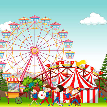 Amusement park with circus and ferris wheel  background illustration