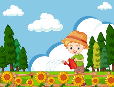 Scene with cute boy watering sunflowers in the garden illustration
