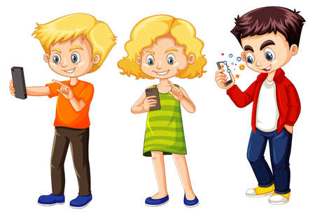 Set of young children using phone illustration Illustration