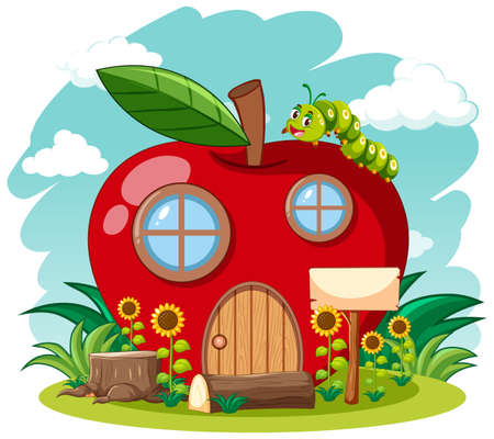 Red apple house and cute worm in the garden cartoon style on sky background illustration Ilustração Vetorial