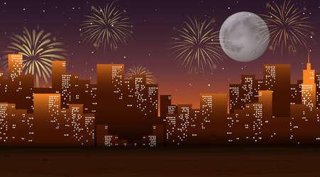 Cityscape with celebration fireworks scene illustration Vektoros illusztráció