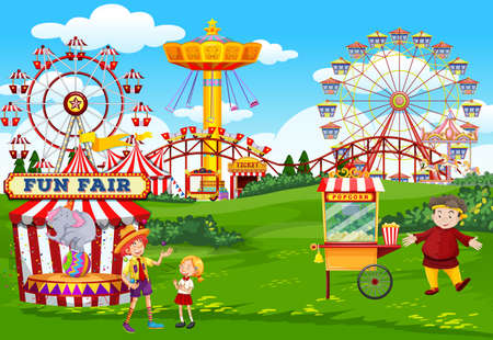 Amusement park with circus and popcorn cart theme scene illustration