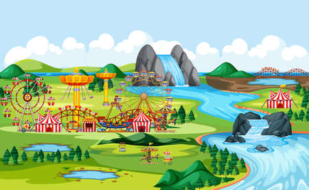 Amusement park with circus and many rides landscape scene illustration
