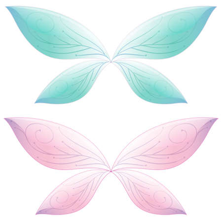 Butterfly in fairt tale pastel color on white background illustration  イラスト・ベクター素材