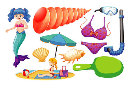 Set of mermaid and summer icon cartoon style on white background illustration