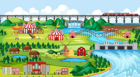 Town or city with amusement park and river side landscape scene illustration Иллюстрация