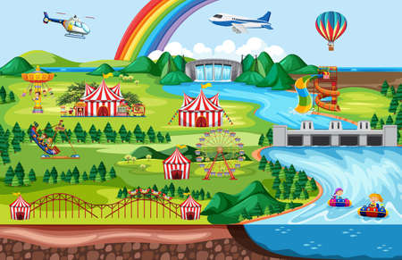 Amusement park with rainbow and plane and helicopter theme landscape illustration Vectores