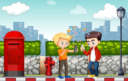 Boys using smart phone with social media icon theme on city background illustration Иллюстрация