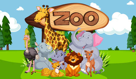 Group of animals with zoo sign illustration