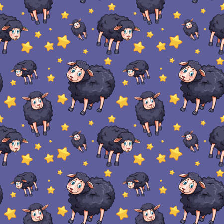 Seamless background design with black sheep and stars illustration