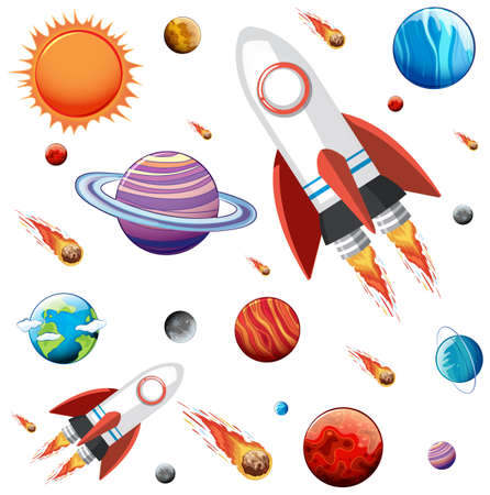 Colorful galaxy space and planets set illustration 向量圖像