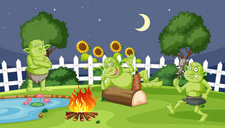 Goblins or trolls with fire camping night in cartoon style on garden background illustration