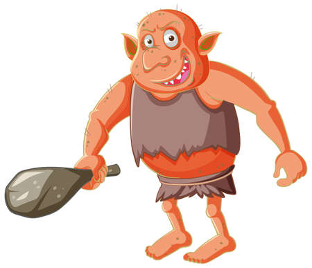 Red goblin or troll holding hunting tool in cartoon character isolated illustration