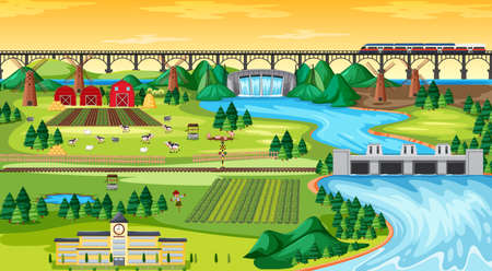 Farm field town and school and bridge sky train with dam side landscape scene cartoon style  illustration Vectores