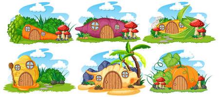 Set of isolated fairy tale houses with sky cartoon style on white background illustration Illustration