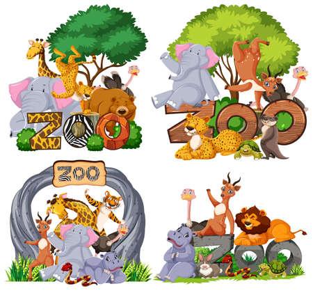 Set of zoo animals with banner illustration Ilustración de vector