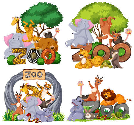Set of zoo animals with banner illustration Vector Illustration