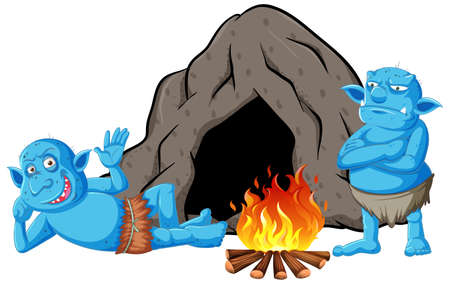 Goblins or trolls with cave house and camp fire in cartoon style isolated illustration Illustration