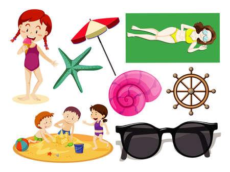 Conjunto de icono de playa de verano y estilo de dibujos animados de niños en ilustración de fondo blanco