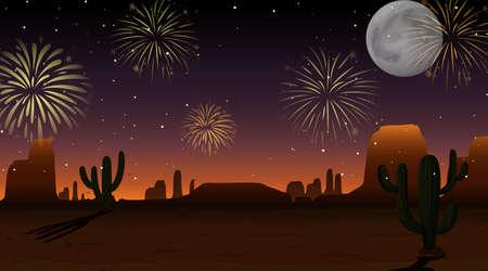 Celebration fireworks on sky desert scene illustration 向量圖像