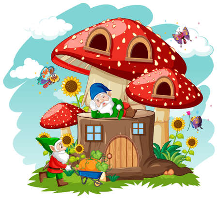 Gnomes and stump mushroom house and in the garden cartoon style on sky background illustration Illustration