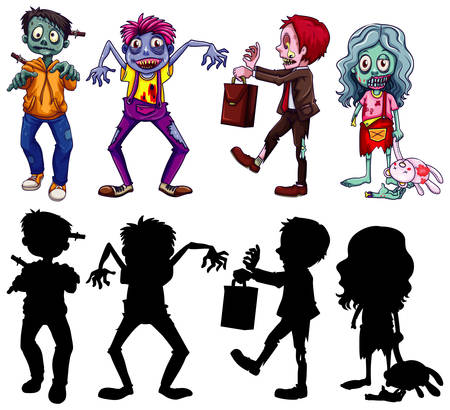 Different character of zombies in color and silhouette cartoon style isolated illustration Ilustrace