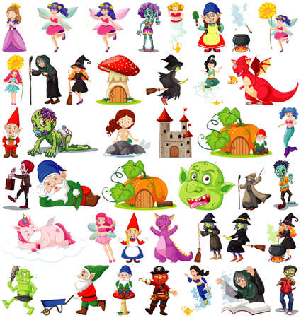Set of fantasy cartoon characters and fantasy theme isolated on white background illustration Vector Illustratie