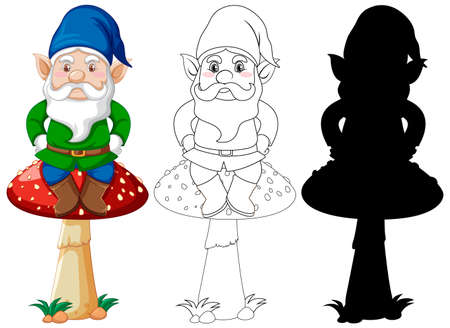 Gnome sitting on mushroom in color and outline and silhouette in cartoon character on white background illustration