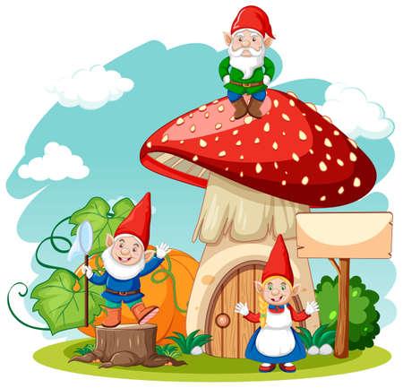 Gnomes and mushroom house cartoon style on white background illustration Illustration