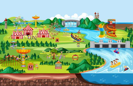 Theme amusement park landscape scene and many rides with happy children  illustration Vectores