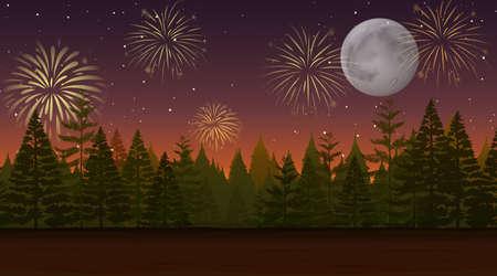Forest with celebration fireworks scene illustration