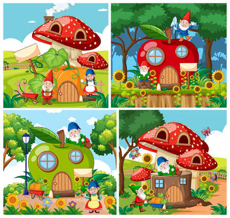 Set of isolated gnome fairy tale houses cartoon style on garden background illustration