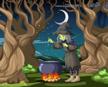 Witch with black magic pot cartoon style on dark jungle background illustration