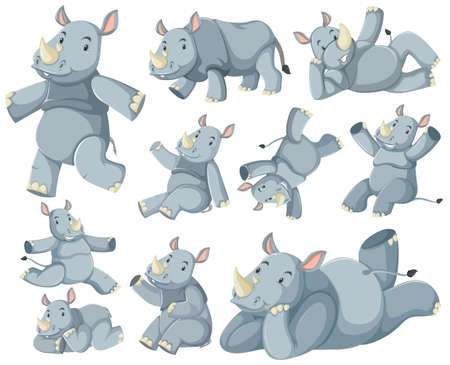 Group of rhinoceros cartoon character illustration 向量圖像