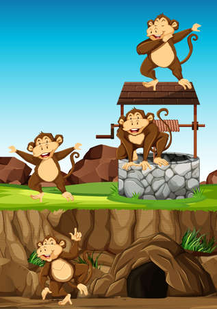 Wild monkeys group in many poses in animal park cartoon style on day background illustration