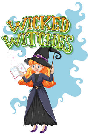Wicked witches logo on white background illustration Ilustração