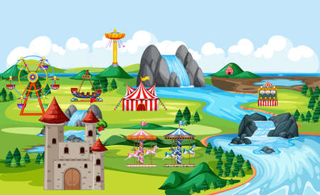 Amusement park with castle and many rides landscape scene illustration