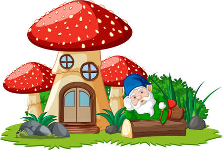 Gnome lying on stump beside mushroom house on white background illustration Banque d'images - 149213787